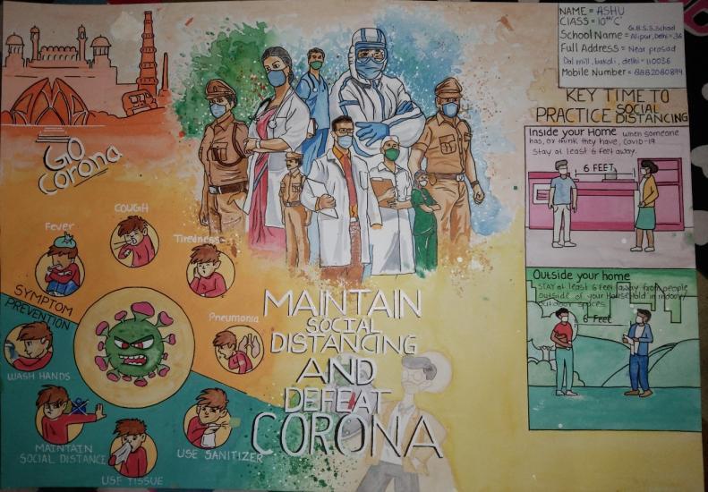 Maintain social distancing and defeat corona