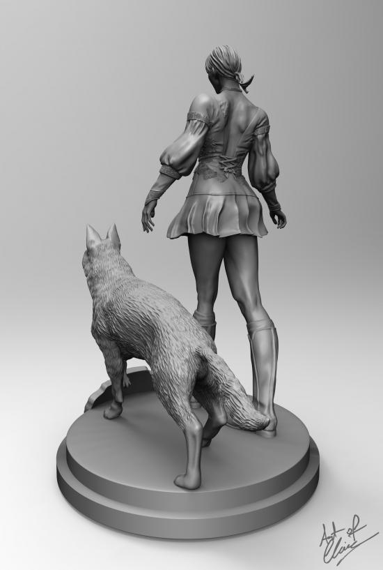 Fiona Belli and Hewie (Haunting Ground) 3D statue