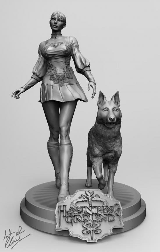 Fiona Belli and Hewie 3D statue