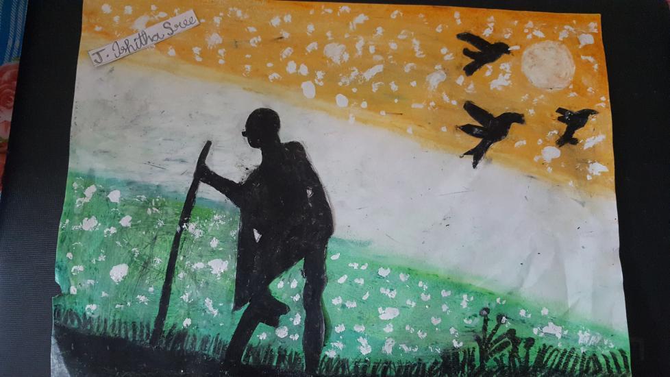 Gandhi Jayanthi drawing