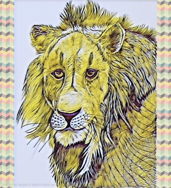 Lion Drawing - Enhanced