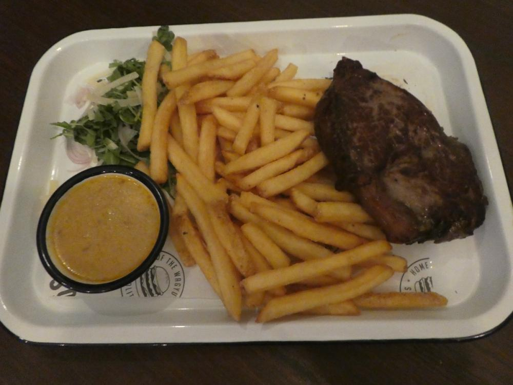 Steak and Fries with Blue Cheese Sauce
