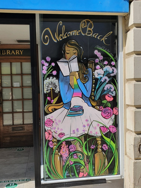 The Leeds Library New Room; Window art created by local artist Jenny Tribillon.