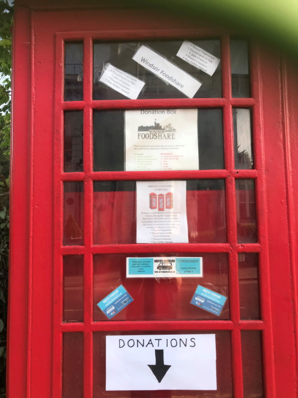 Windsor Foodshare use this phone box for donations