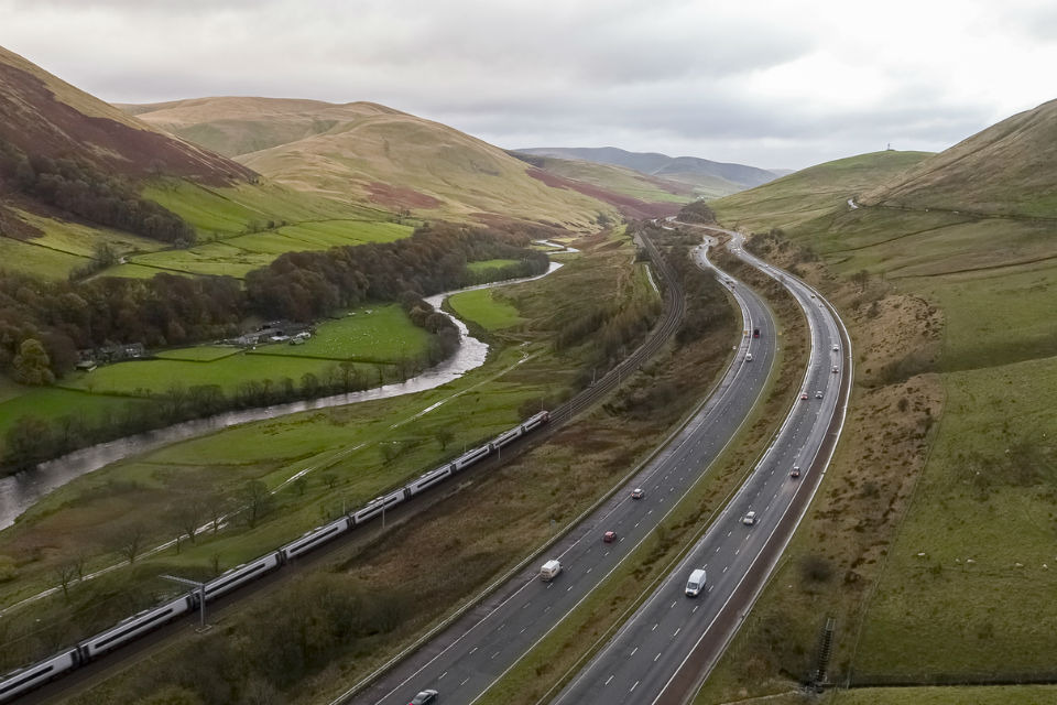 The M6 as it snakes through the Lune Gorge . Photo by Highways England