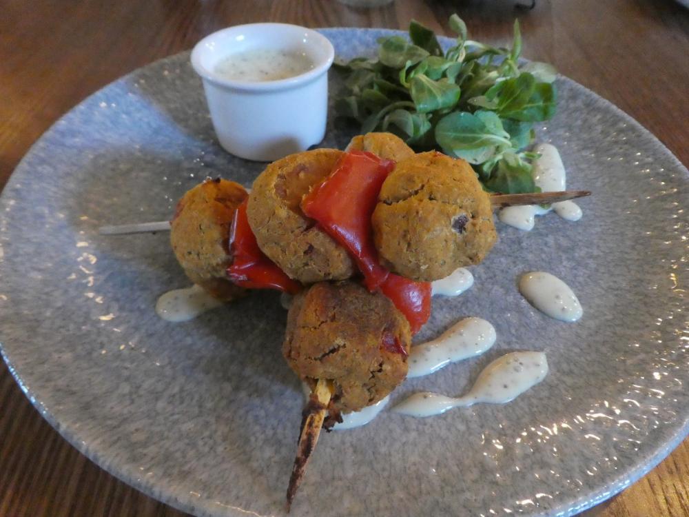 Red pepper and sweet potato koftas