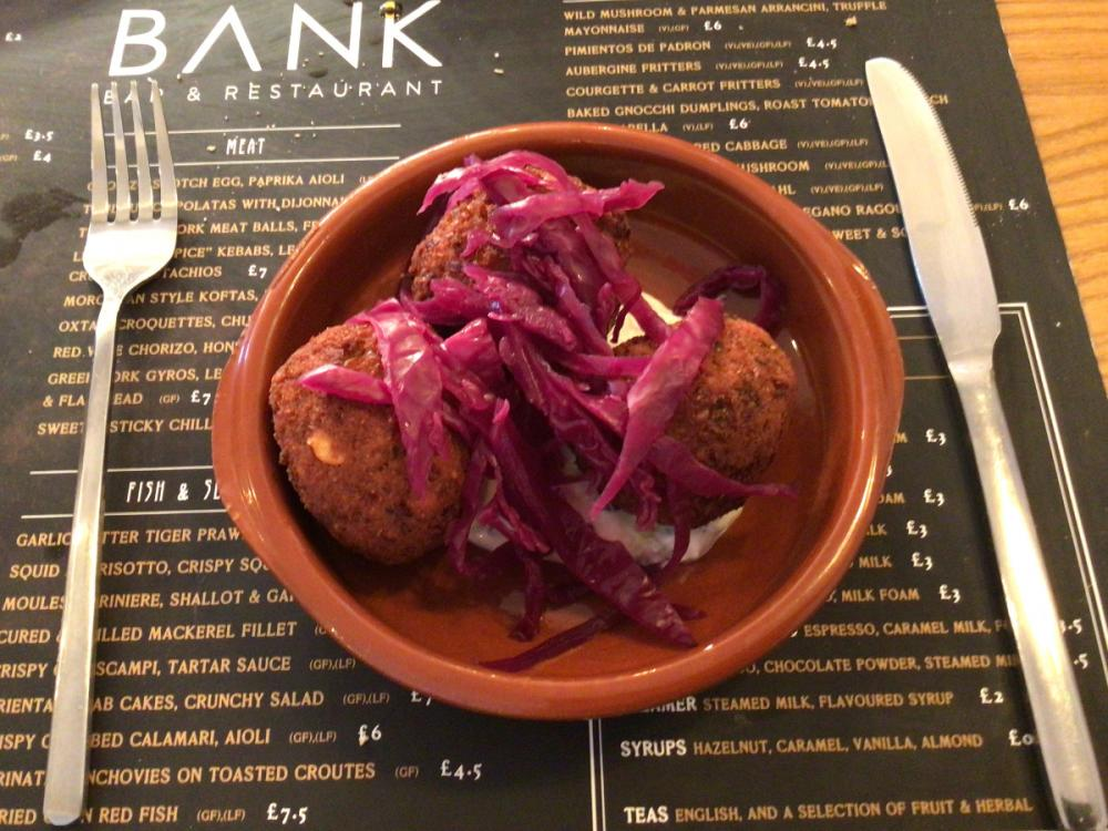 Falafel with pickled red cabbage