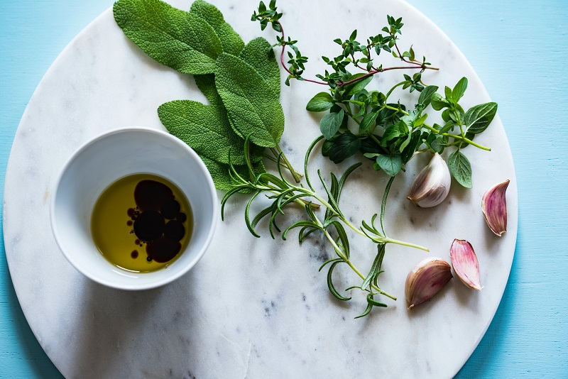 Herbs on a plate