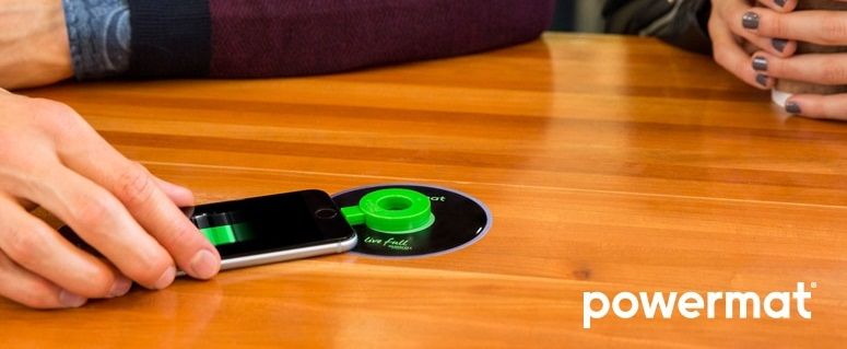 Powermat, showing the wireless charging ring