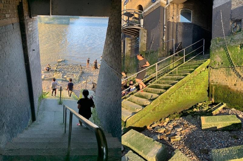 Access to Tower Bridge beachcombing