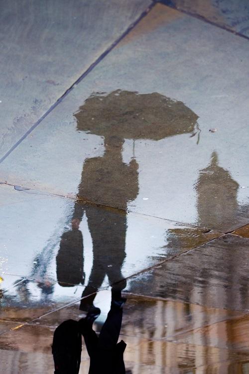 London umbrella reflection