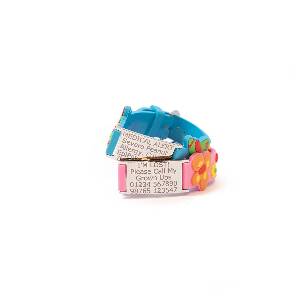 kids medical ID bracelet fastened
