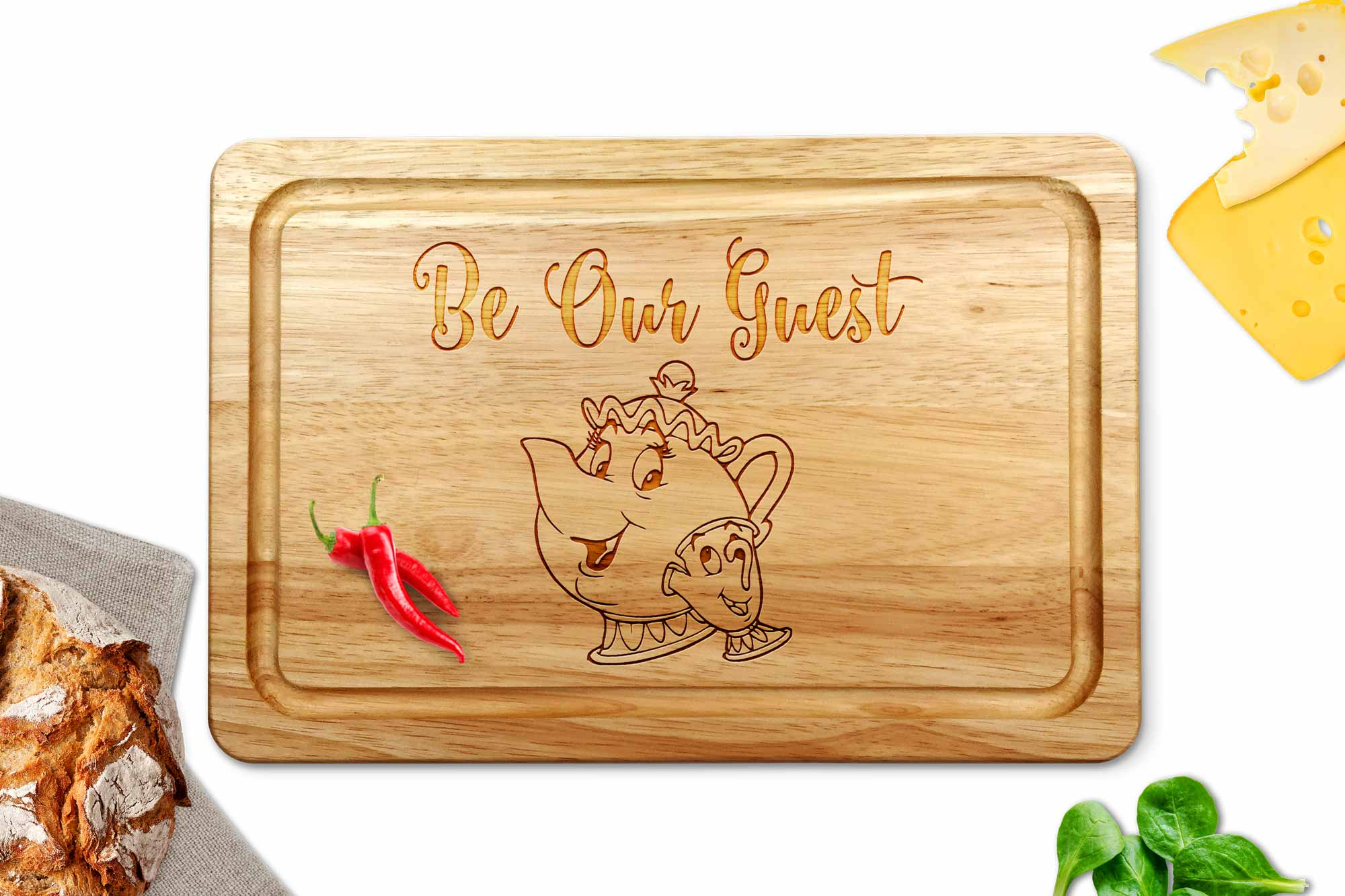 be our guest wooden chopping board on a white worktop