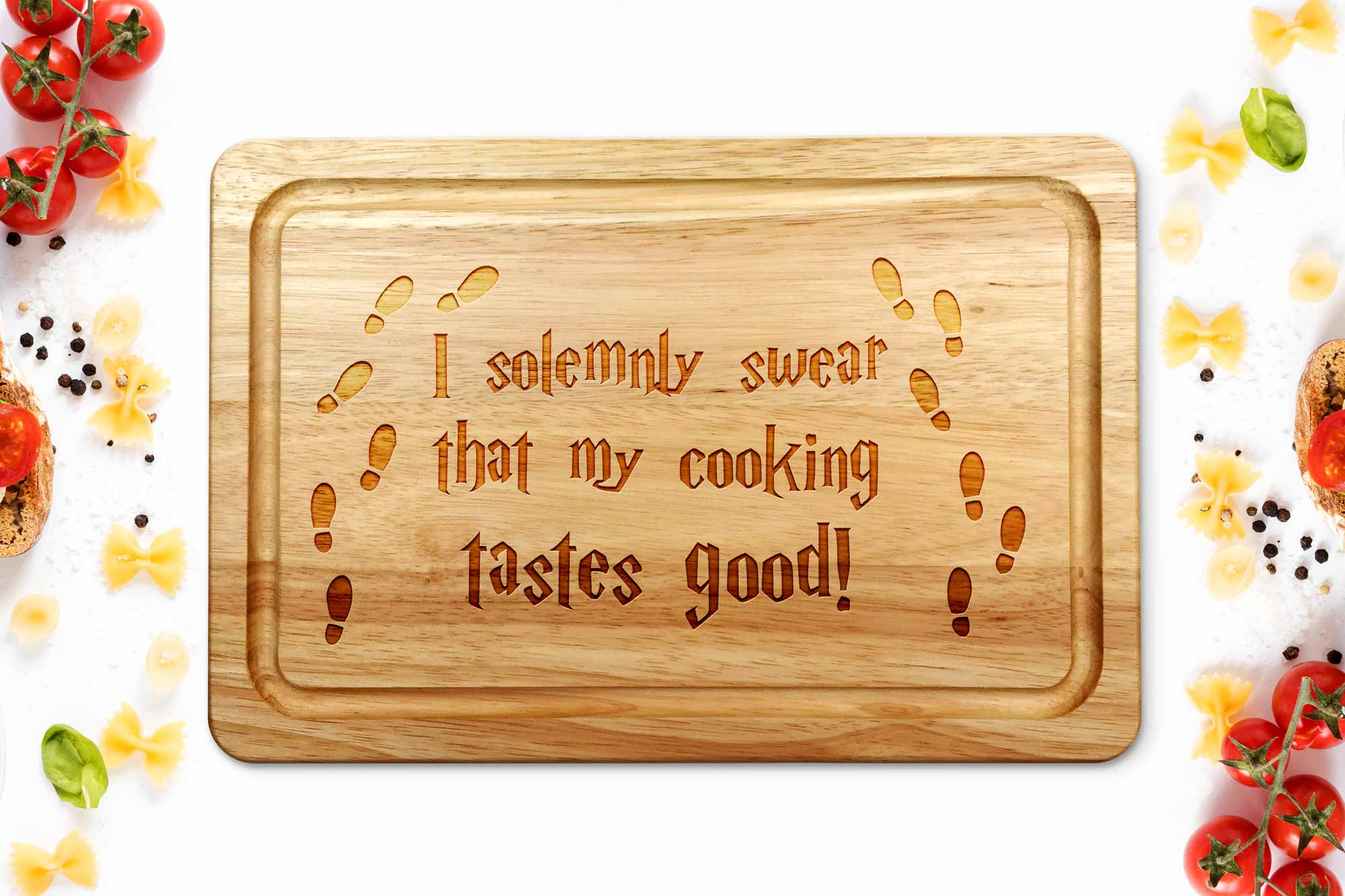 Harry Potter style chopping board on a white background