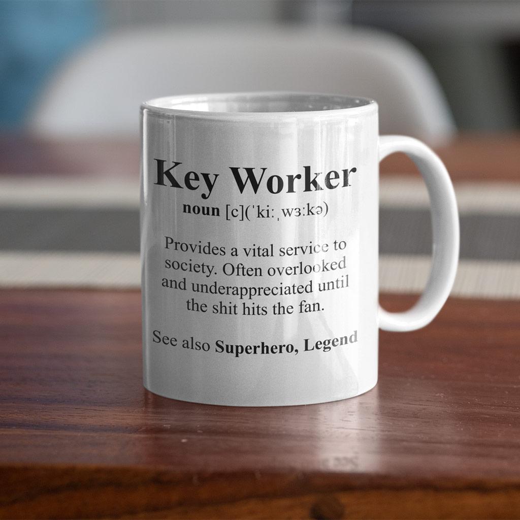 key worker gift mug on a desk