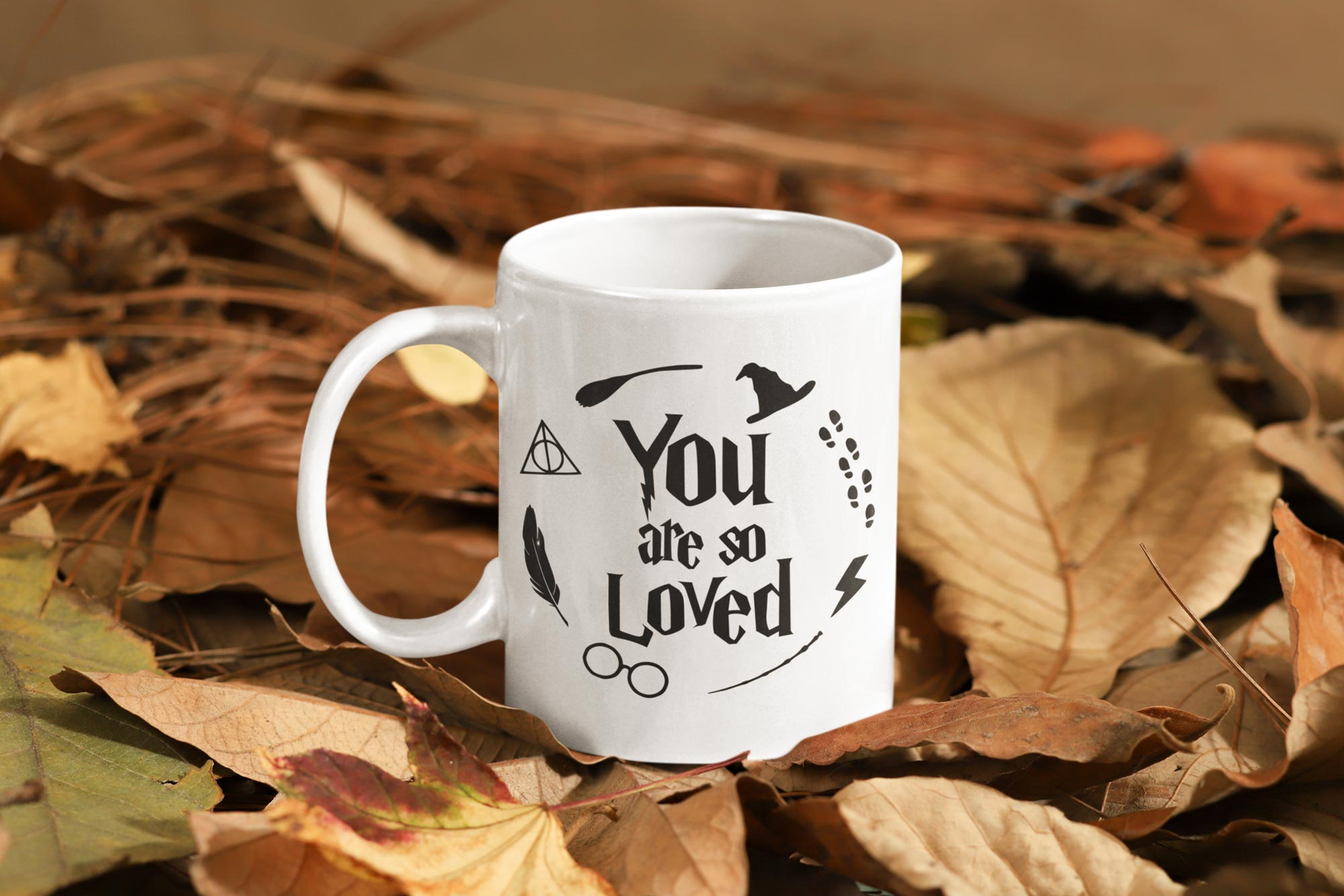 you are so loved mug on leaves