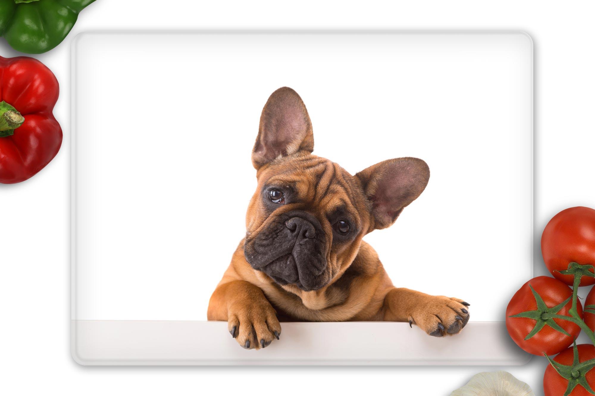 french bulldog glass chopping board on white worktop