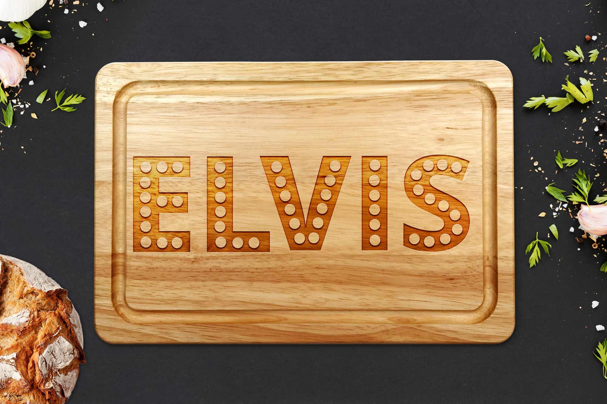 Elvis chopping board on a grey worktop