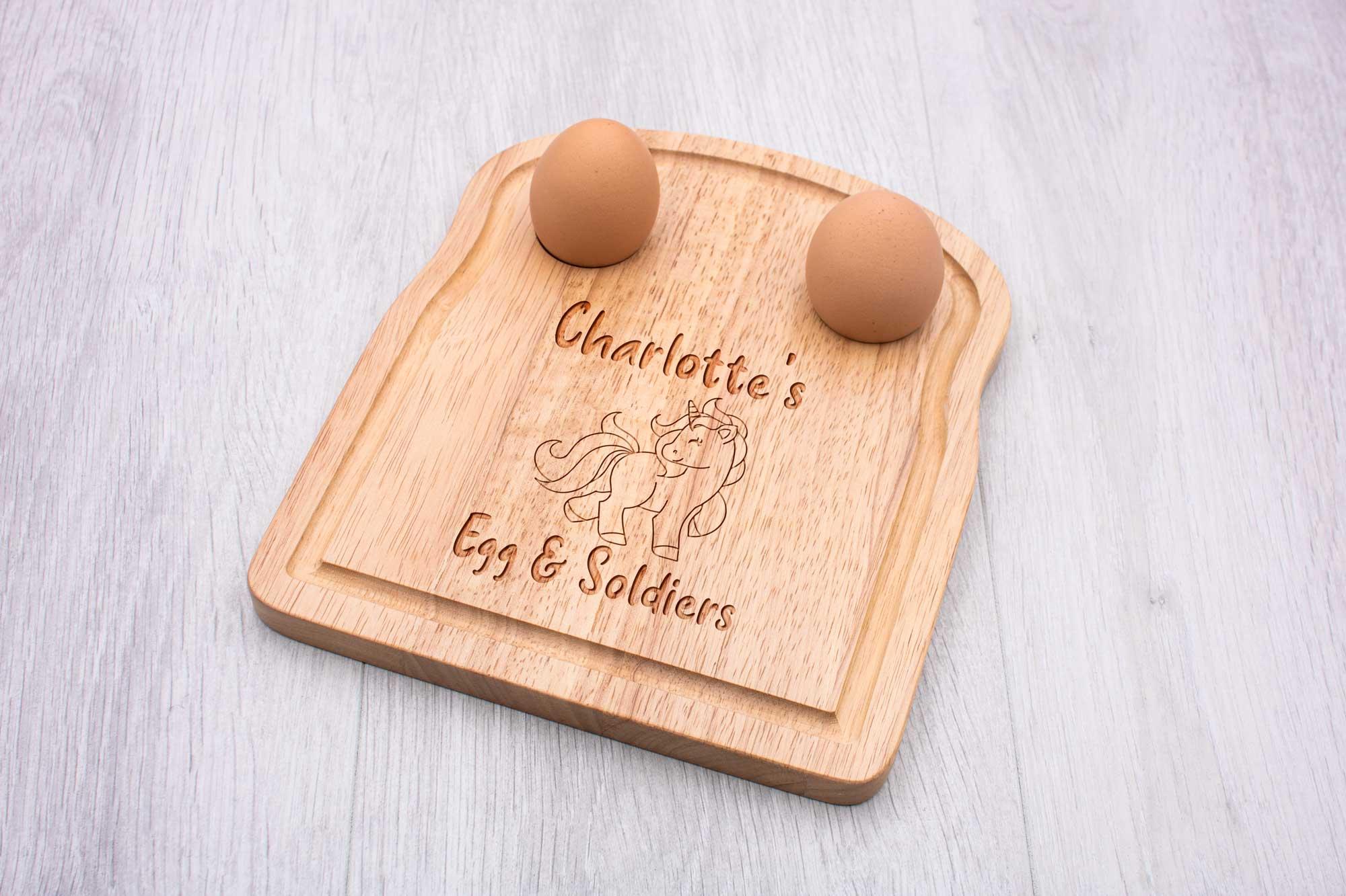 personalised unicorn egg soldiers breakfast board