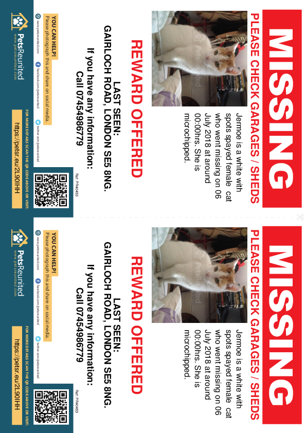 Lost pet flyers - Lost cat: White with spots cat called Jermoe