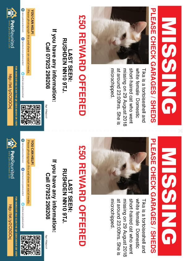 Lost pet flyers - Lost cat: Tortoiseshell and white cat called Tika