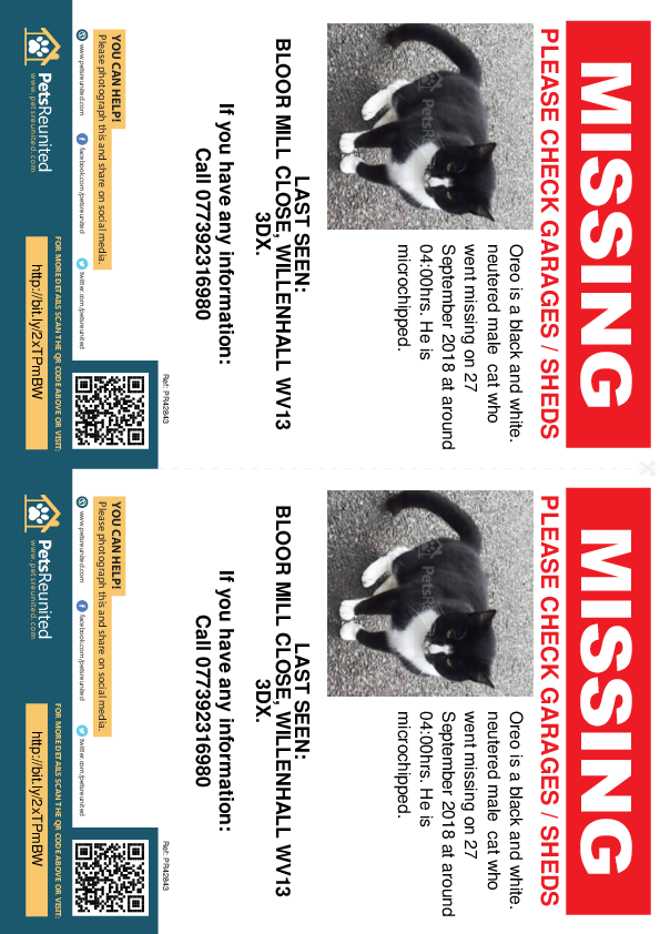 Lost pet flyers - Lost cat: Black and white. cat called Oreo