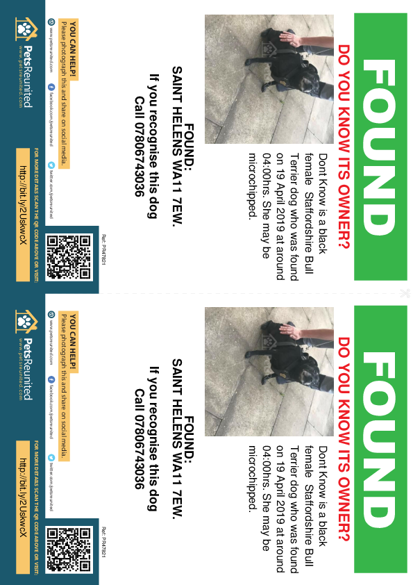 Found pet flyers - Found dog: Black Staffordshire Bull Terrier dog called Dont Know