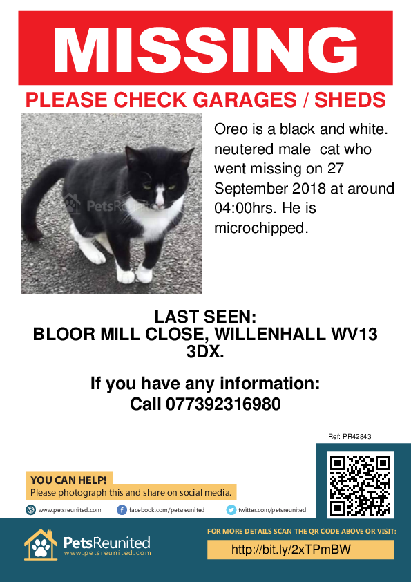 Lost pet poster - Lost cat: Black and white. cat called Oreo