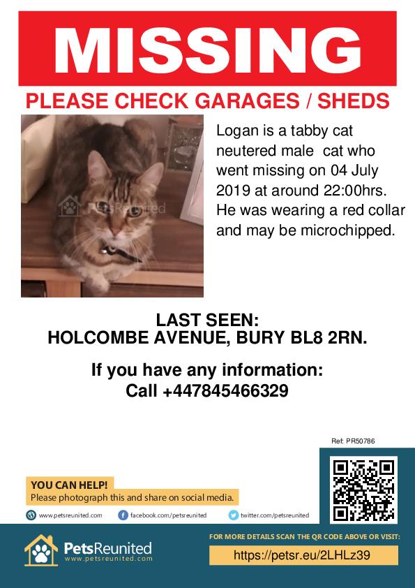 Lost cat: Tabby cat cat called Logan - Bury area, Greater