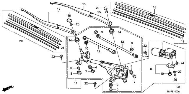Honda 76540-SDA-A01 Wiper Rod Unit