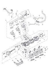 triumph motorcycle  Tiger Sport upto VIN: 570058 triumph parts section Throttles Injectors and Fuel Rail
