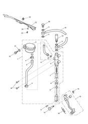triumph motorcycle  Tiger Sport upto VIN: 570058 triumph parts section Rear Brake Master Cylinder Reservoir amp Pedal