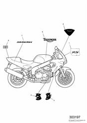 triumph motorcycle  SPRINT RS > 139276 triumph parts section Bodywork  Decals