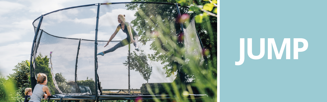 Plum's best selling trampoline with a safer bounce