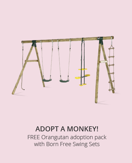 Adopt a Born Free monkey with a Plum swing set