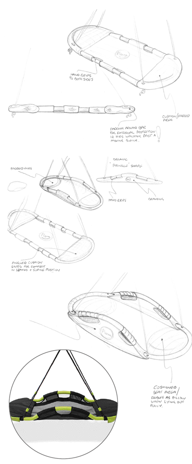 glide nest swing concept sketches