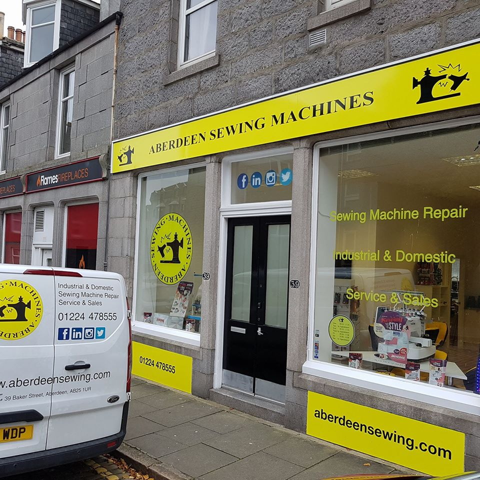 aberdeen sewing machines, shop front, repairs , sales , accessories