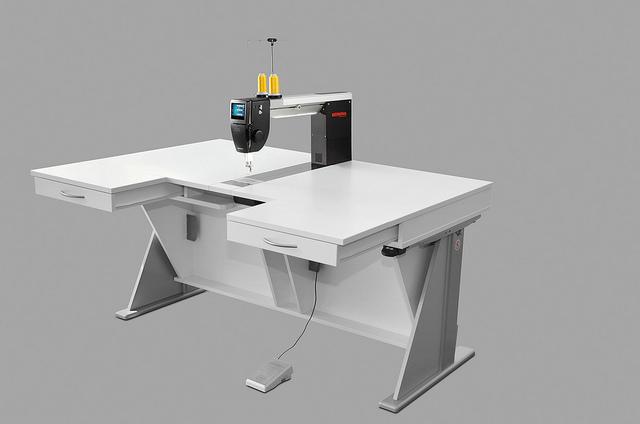 Bernina Q20 Long Arm Machine on RMF Electric Lift Table