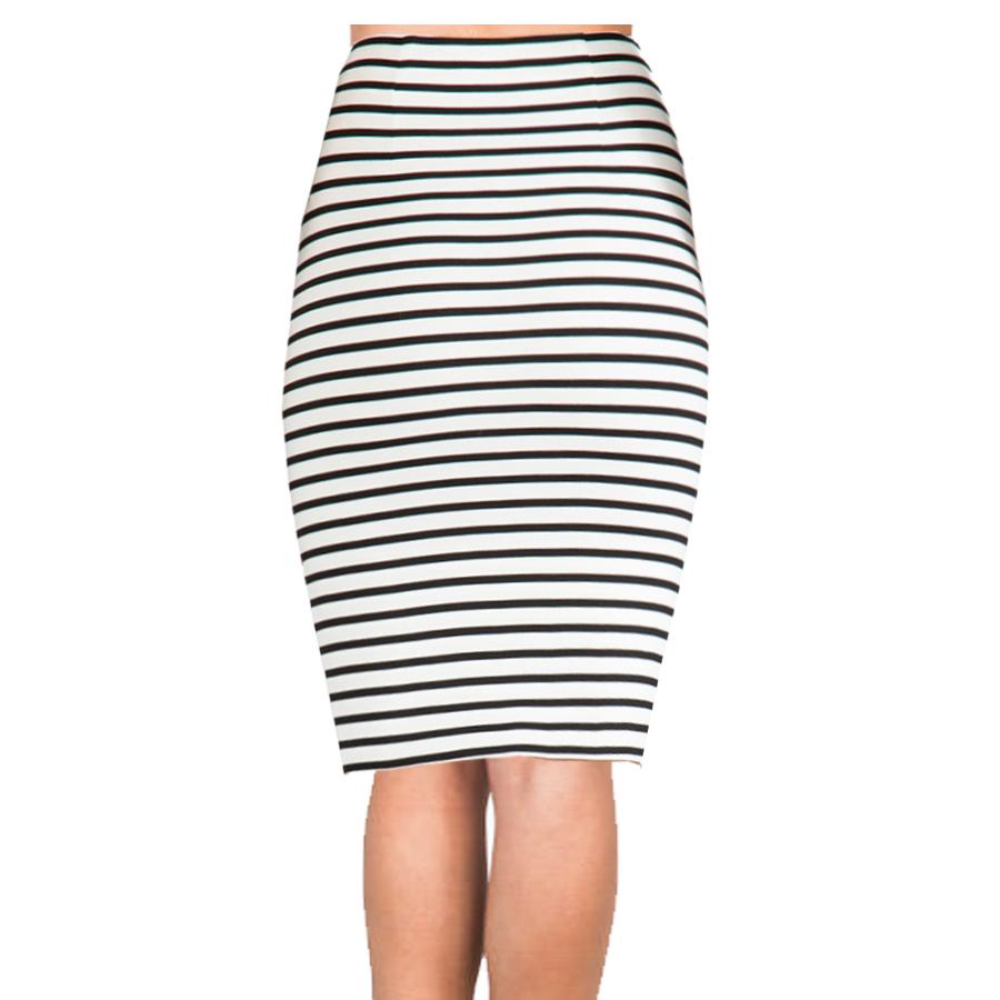 striped-elastic-pencil-skirt