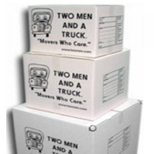 Small, medium, and large boxes in a stack
