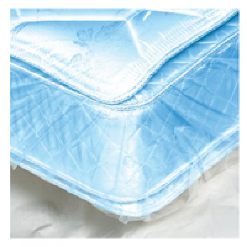 Plastic bag tightly enclosing a mattress