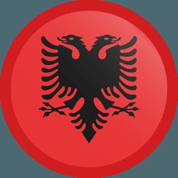 علم ألبانيا مربع دائري بحدود