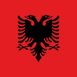 علم ألبانيا على شكل مرب
