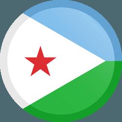علم جيبوتي مربع دائري بحدود