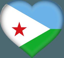 علم جيبوتي على شكل قلب