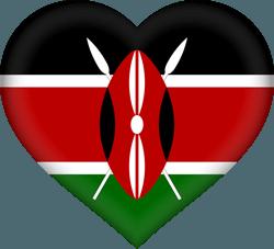 علم كينيا على شكل قلب