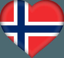 علم النرويج على شكل قلب