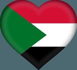 علم السودان على شكل قلب