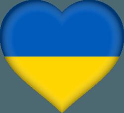علم أوكرانيا على شكل قلب