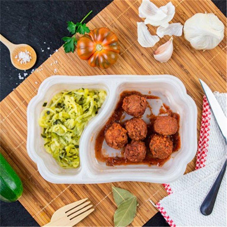 Albóndigas Heura 100% vegetal con zucchinis de calabacin